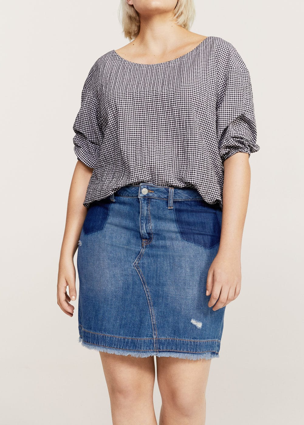 Contrast denim skirt | MANGO