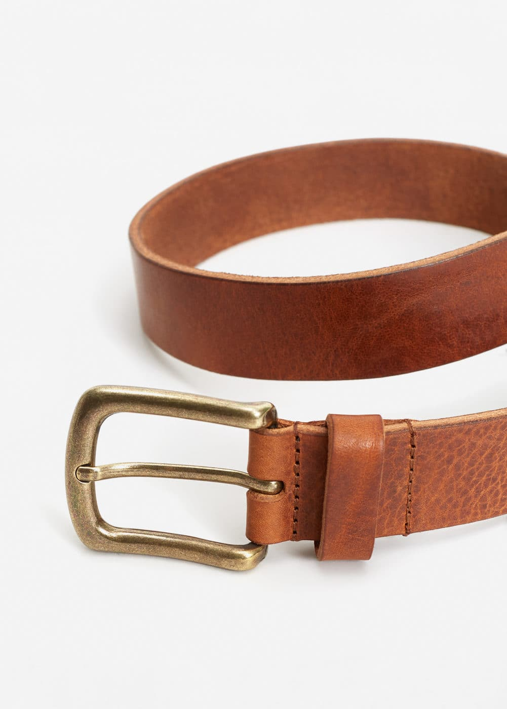Pebbled leather belt | MANGO MAN