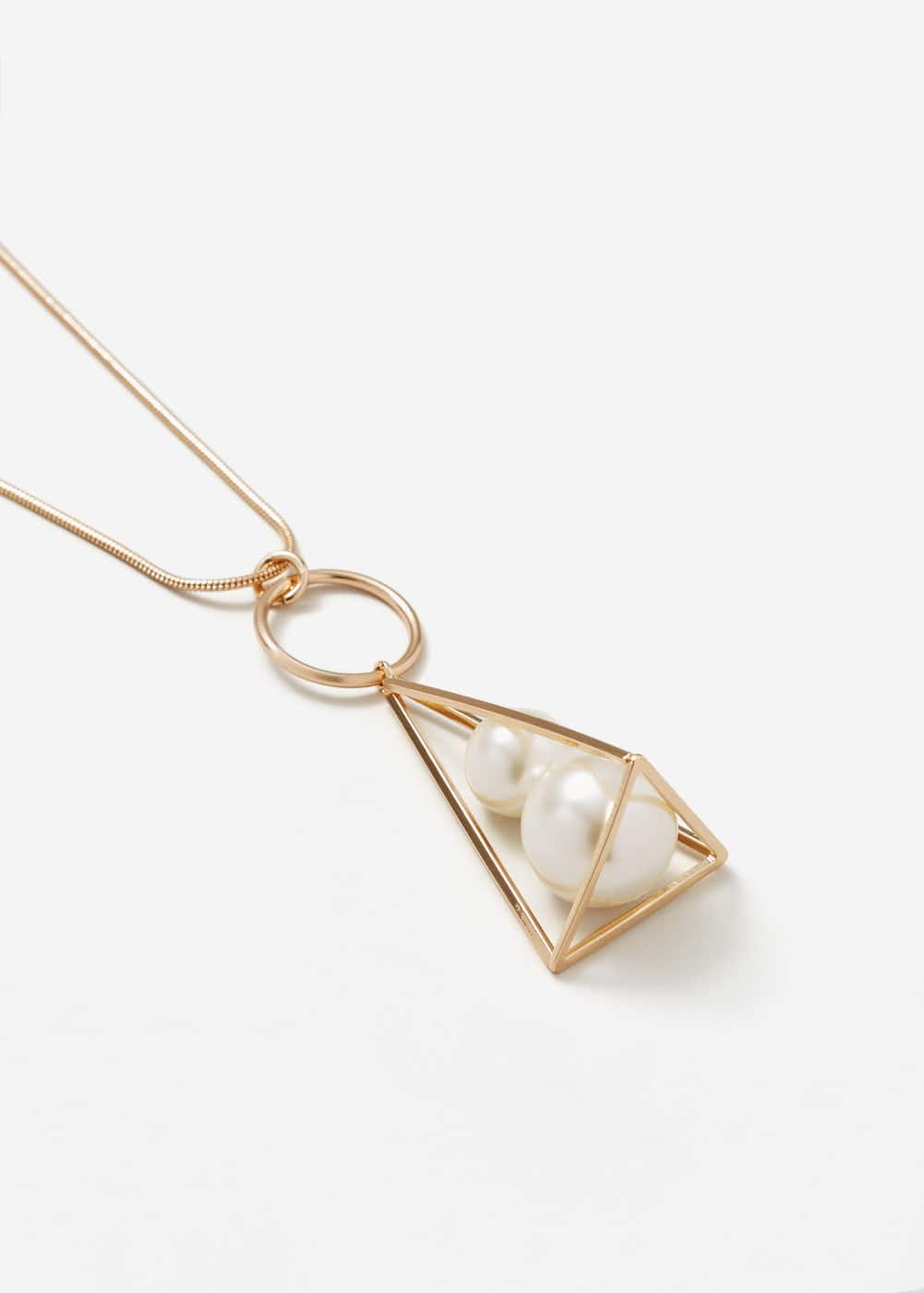 Geometric pearl necklace | MANGO