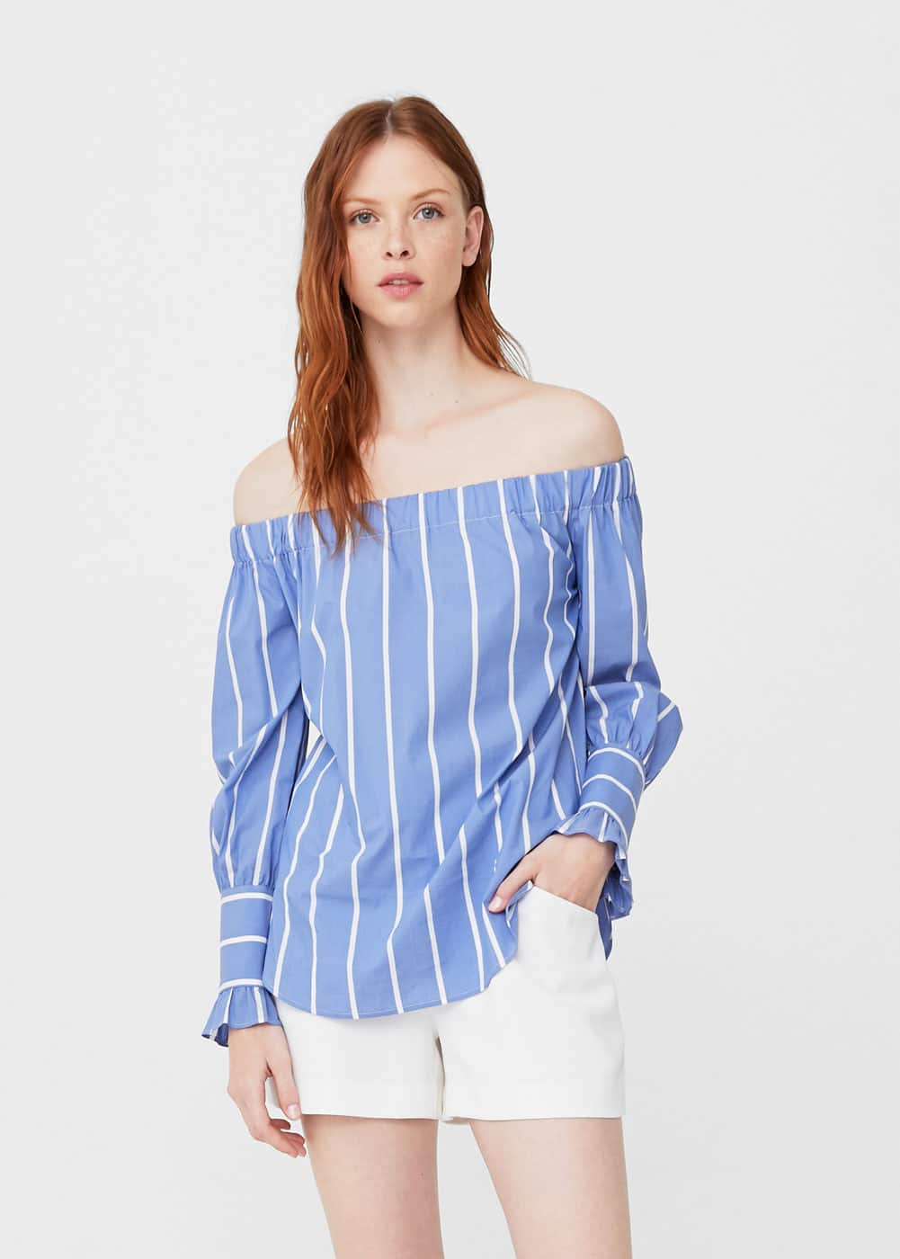 Blusa off-shoulder rayas | MNG