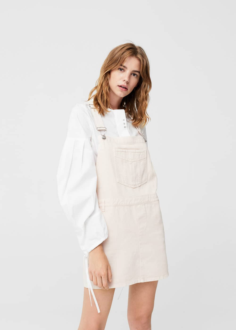 Light denim pinafore dress | MANGO