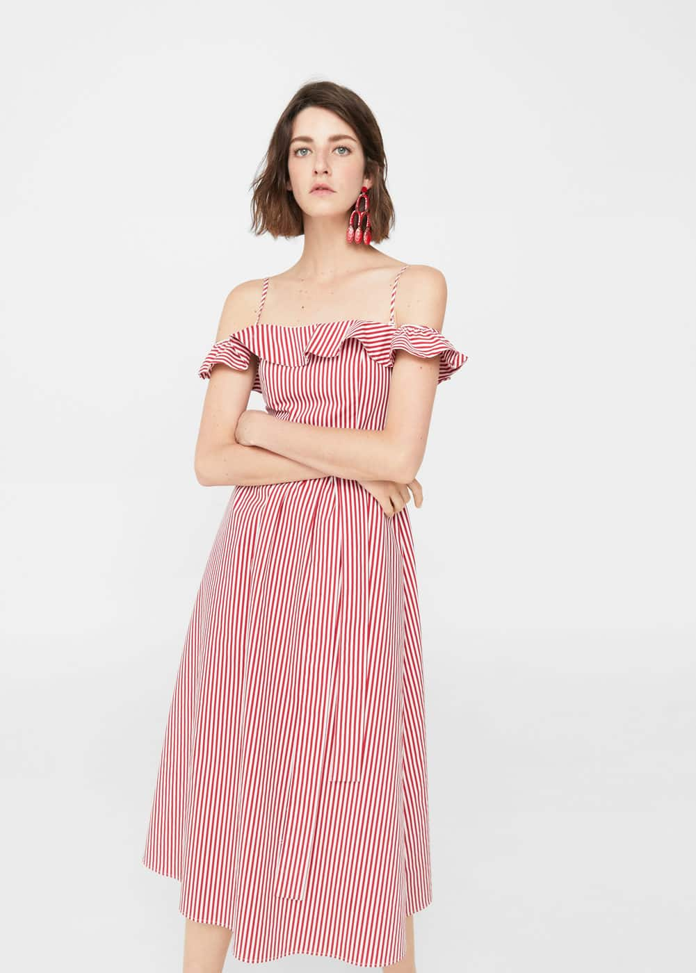 Vestido off-shoulder rayas | MANGO