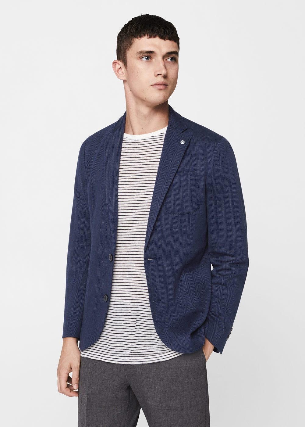 Slim-fit patterned cotton blazer | MANGO