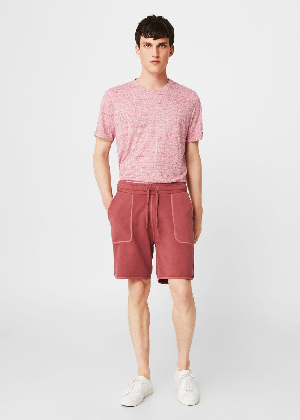 Textured cotton-blend bermuda shorts | MANGO MAN