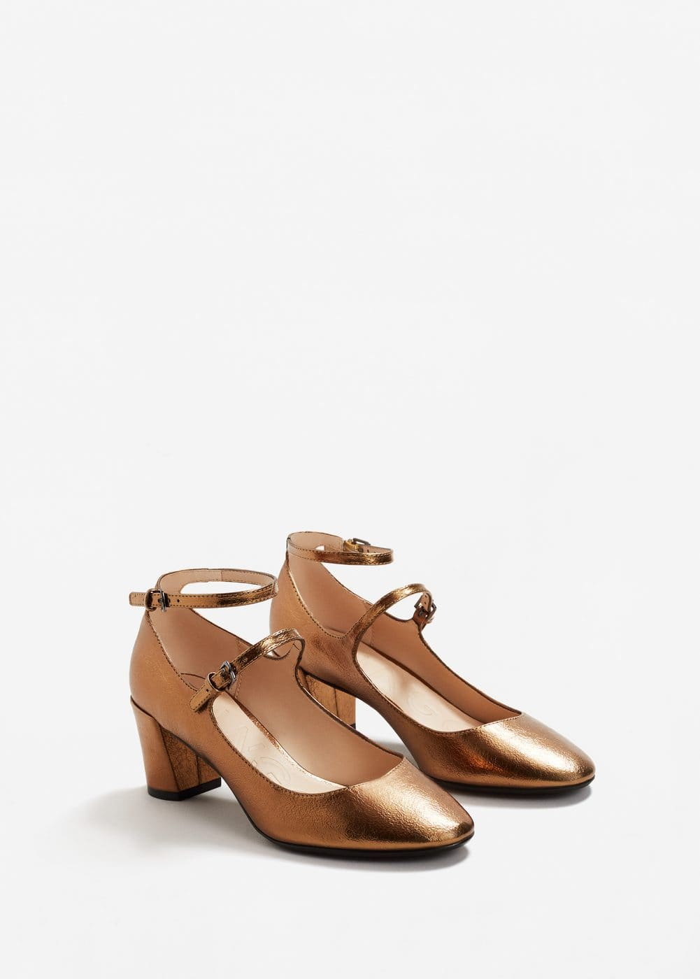 Ankle strap metallic shoes | MANGO