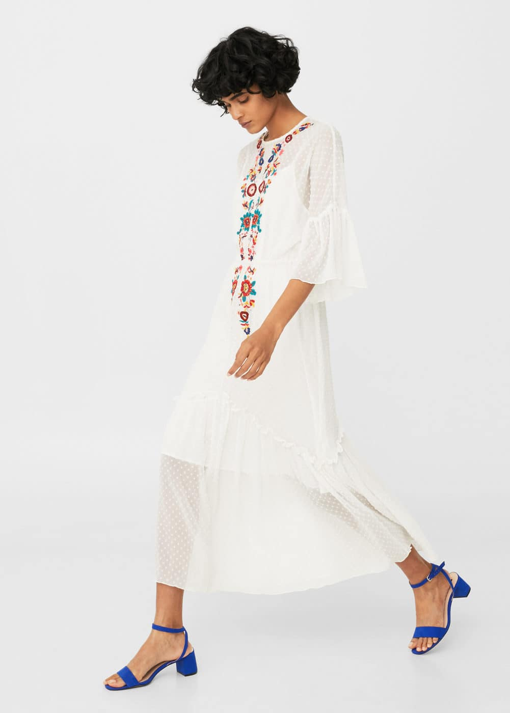 Plumeti floral embroidered dress | MANGO