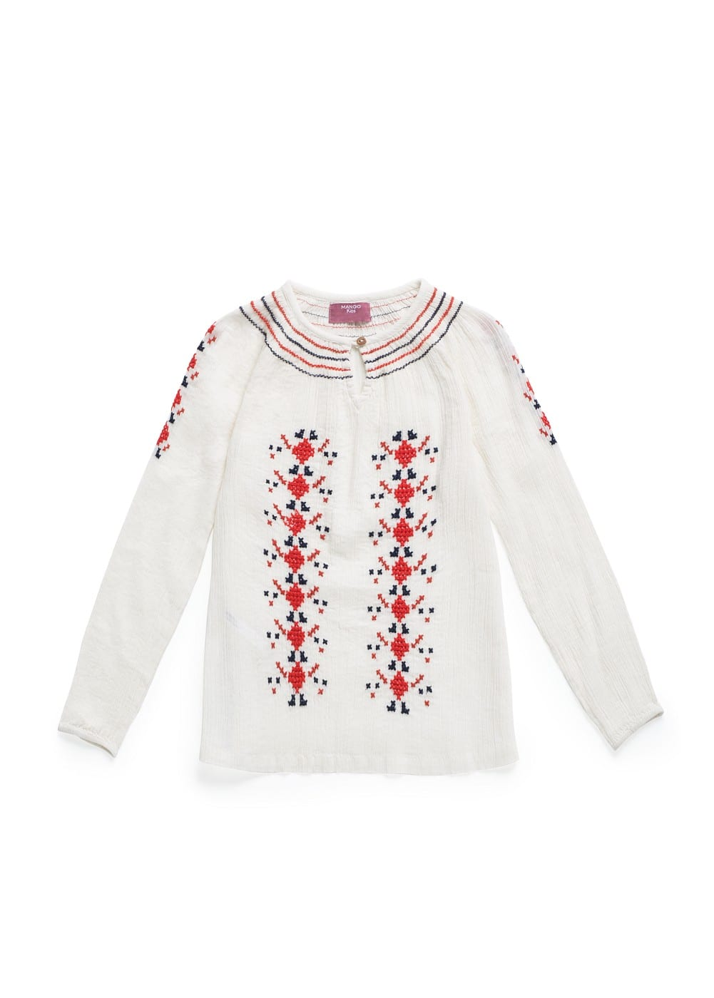 Cross-stitch embroidery blouse | MANGO MAN