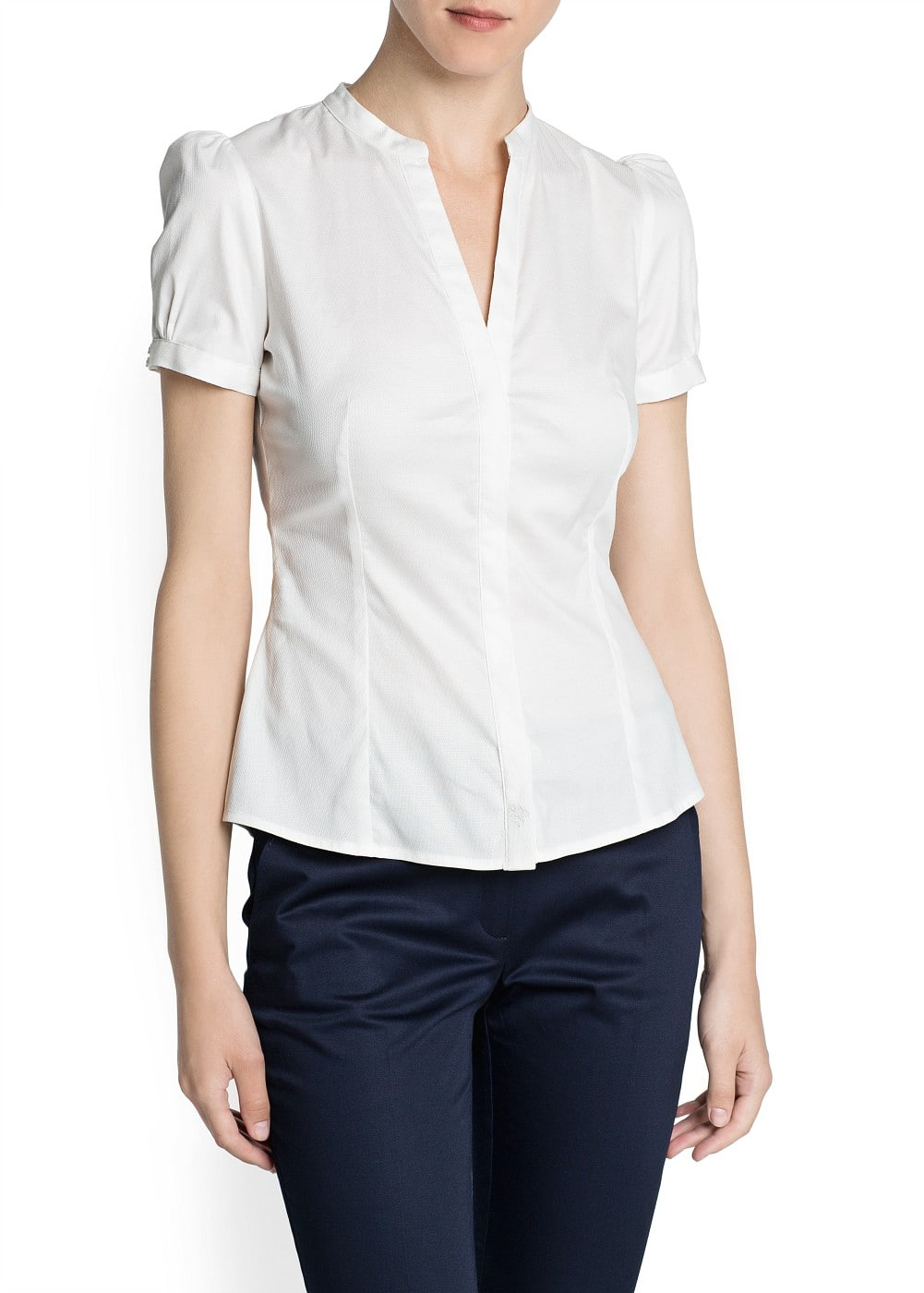 Tailored cotton blouse | MANGO