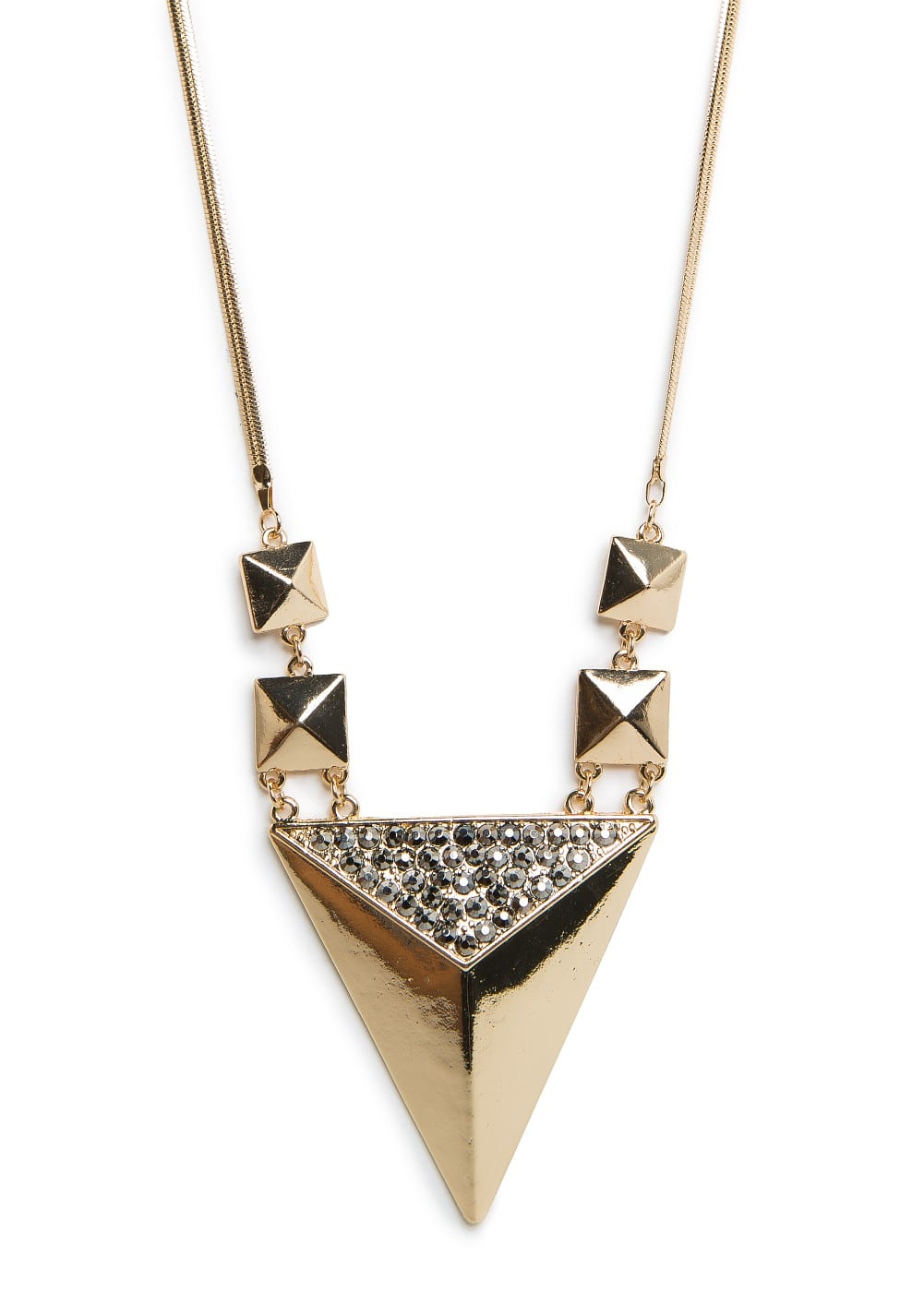 Strass pyramid long necklace | MANGO