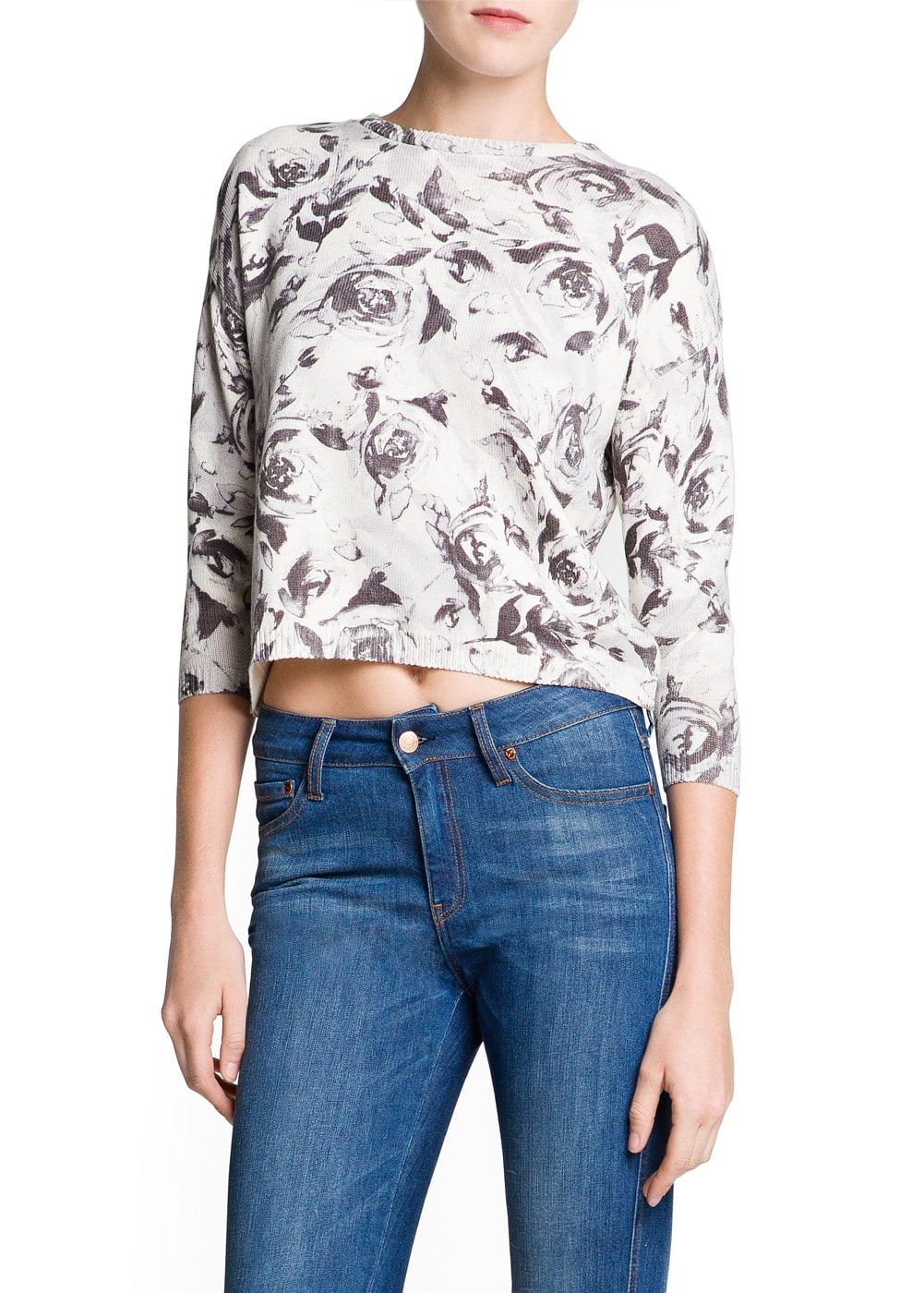 Floral print cotton-blend sweater | MANGO