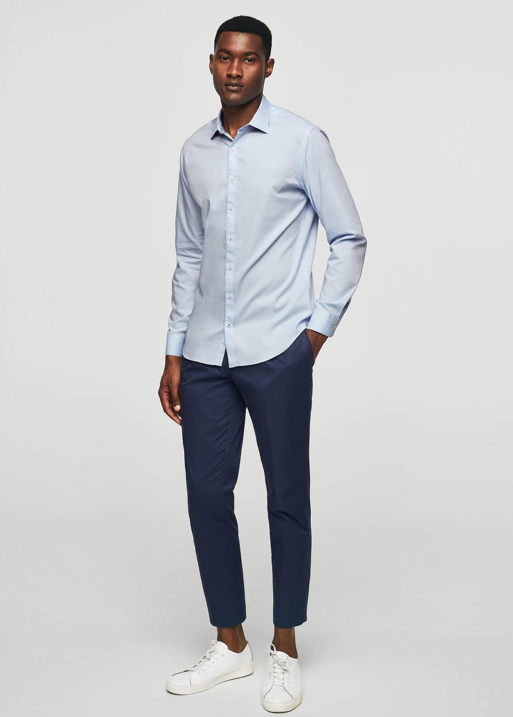 Slim-fit cotton shirt | MANGO