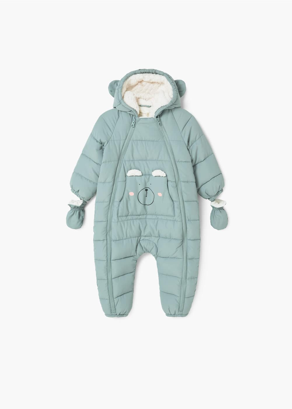 Kangaroo pocket puffer suit | MANGO