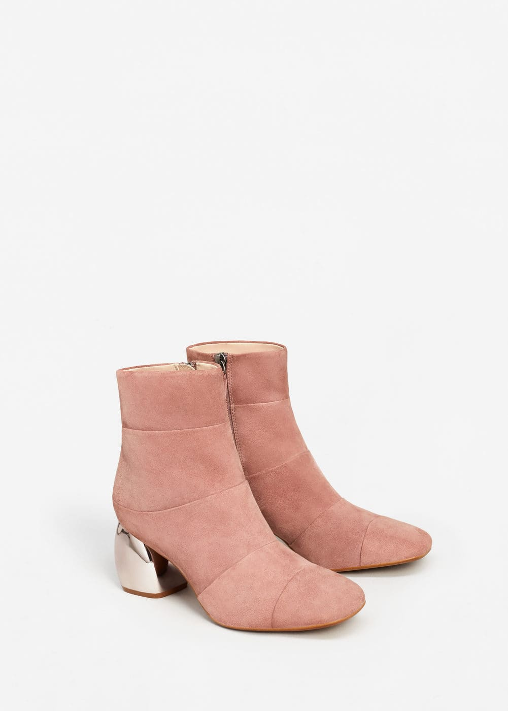 Mirror heel suede ankle boots | MANGO