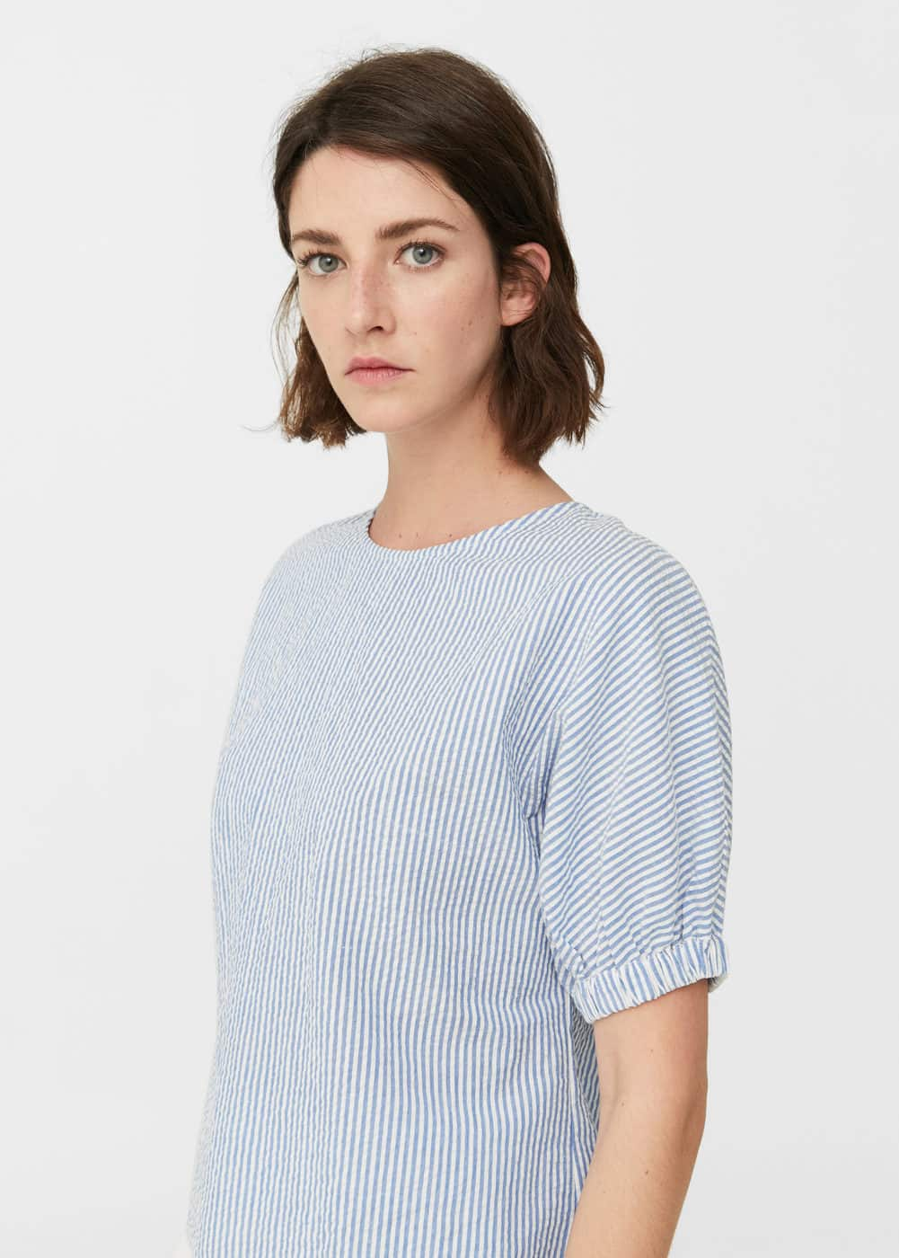 Striped cotton blouse | MANGO