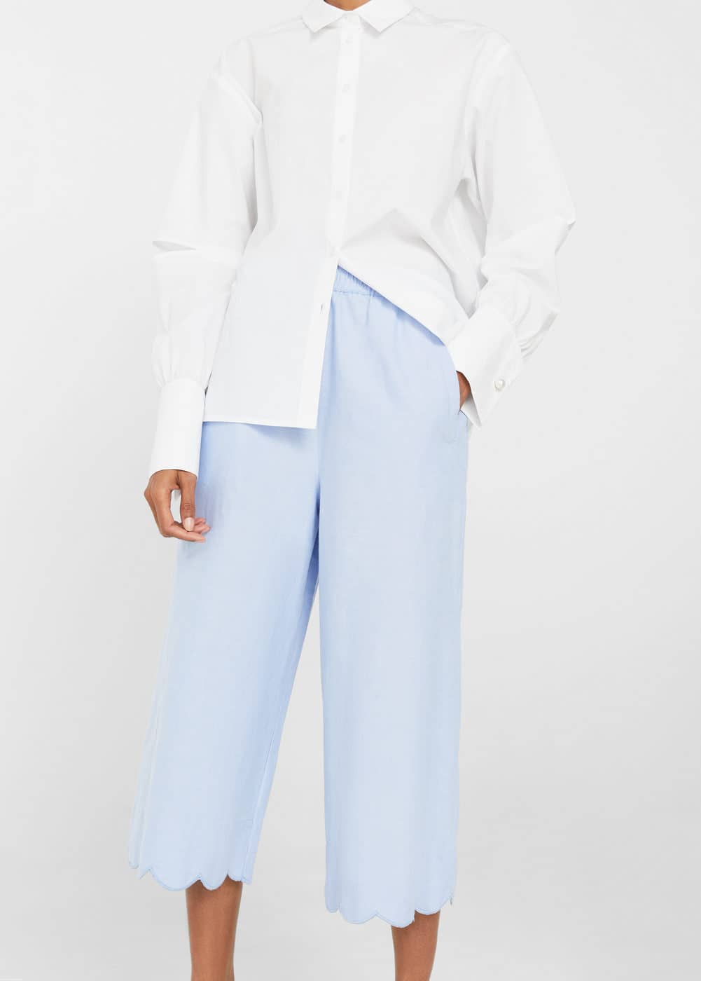 Scalloped hem crop trousers | MANGO
