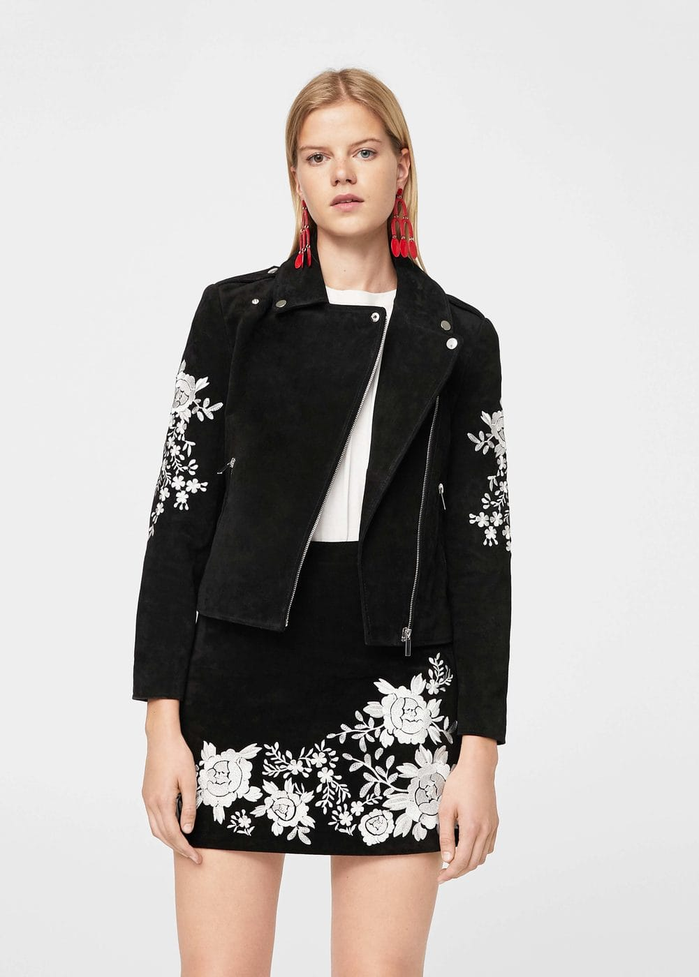 Embroidery suede jacket | MANGO