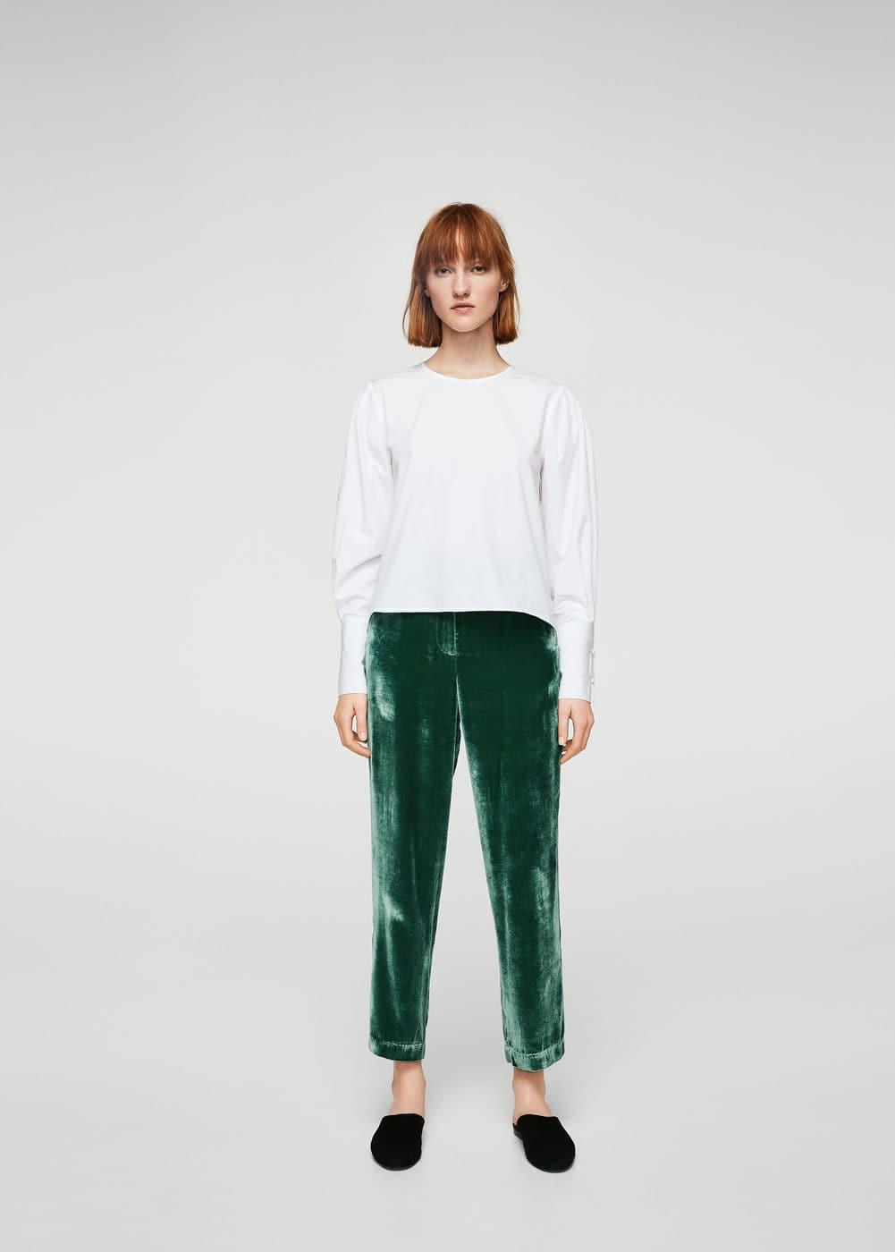 Velvet pleated trousers | MANGO