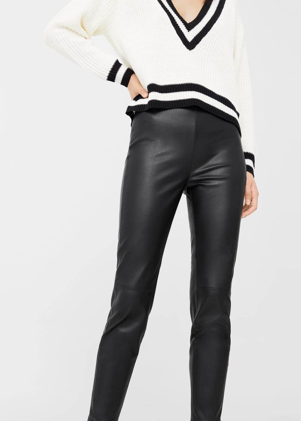 Faux-leather trousers | MANGO