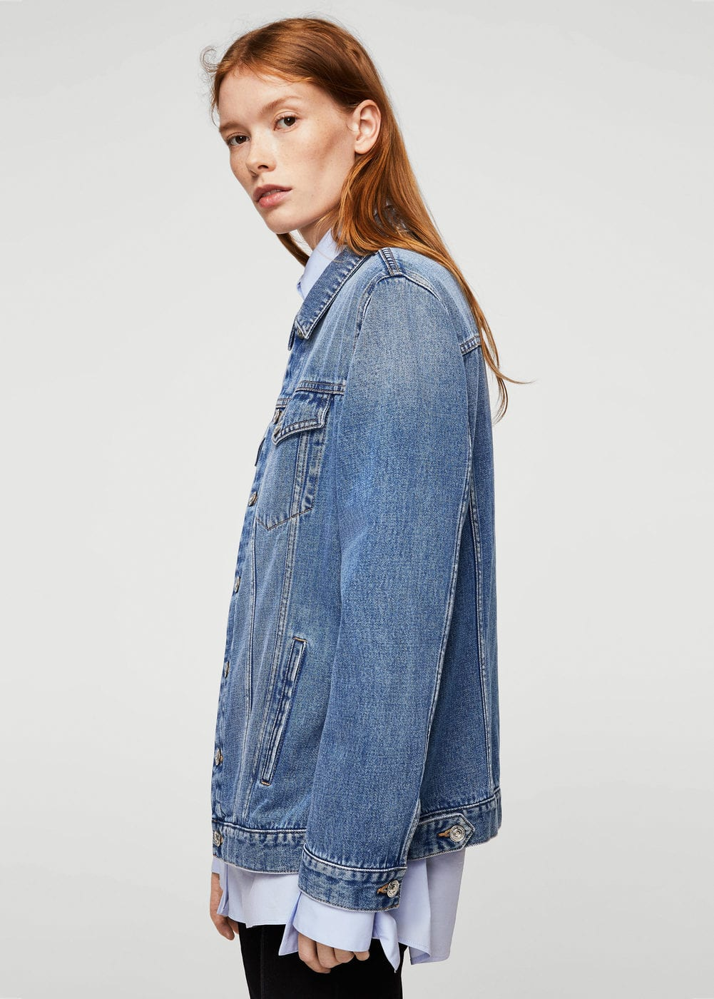 Medium wash denim jacket | MANGO