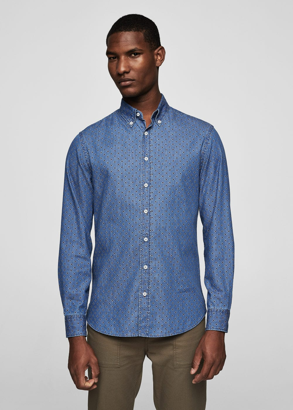 Slim-fit printed denim shirt | MANGO
