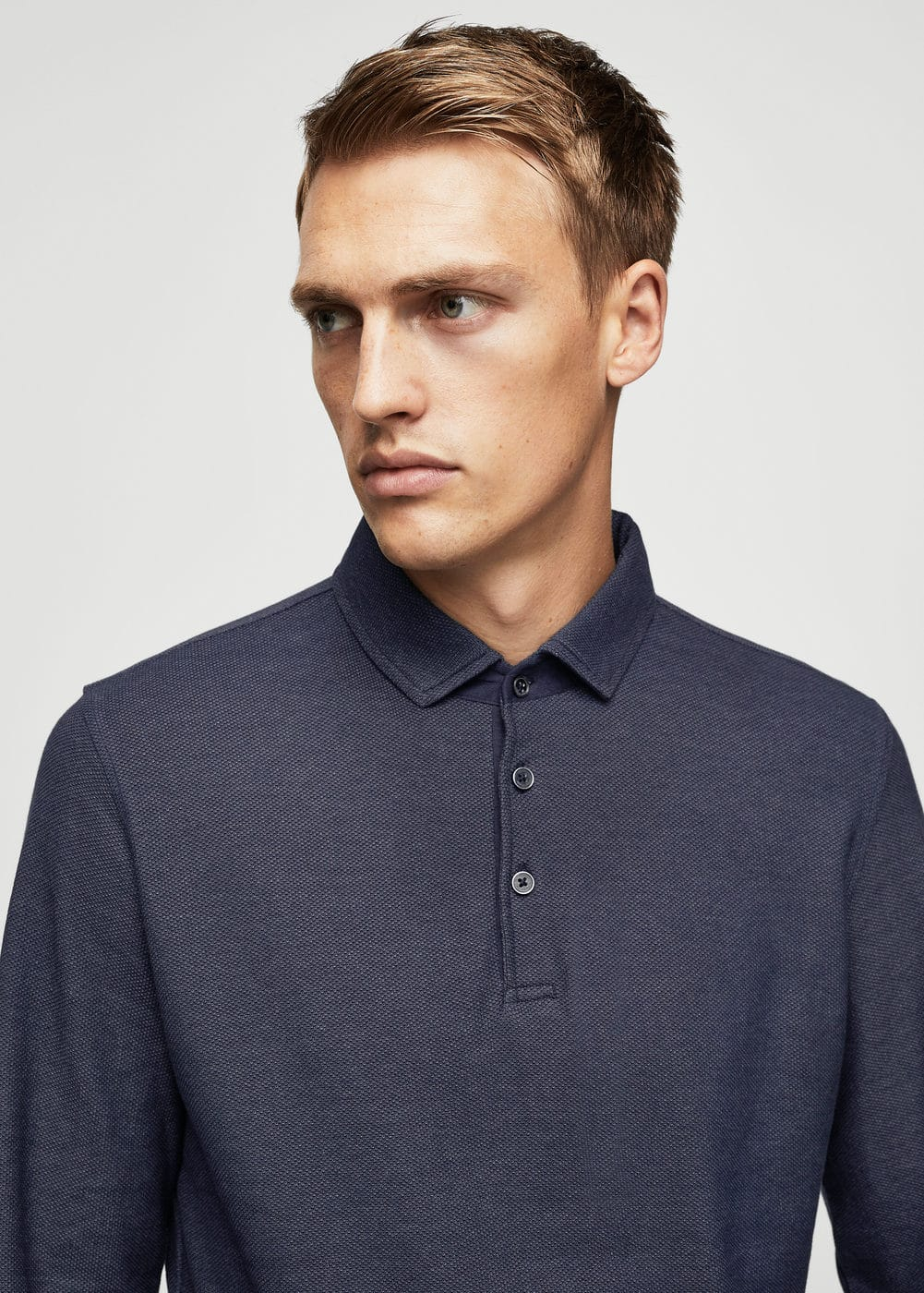 Slim-fit textured cotton polo shirt | MANGO