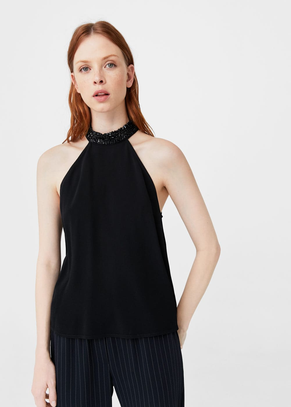 Crystal-detail halter top | MANGO