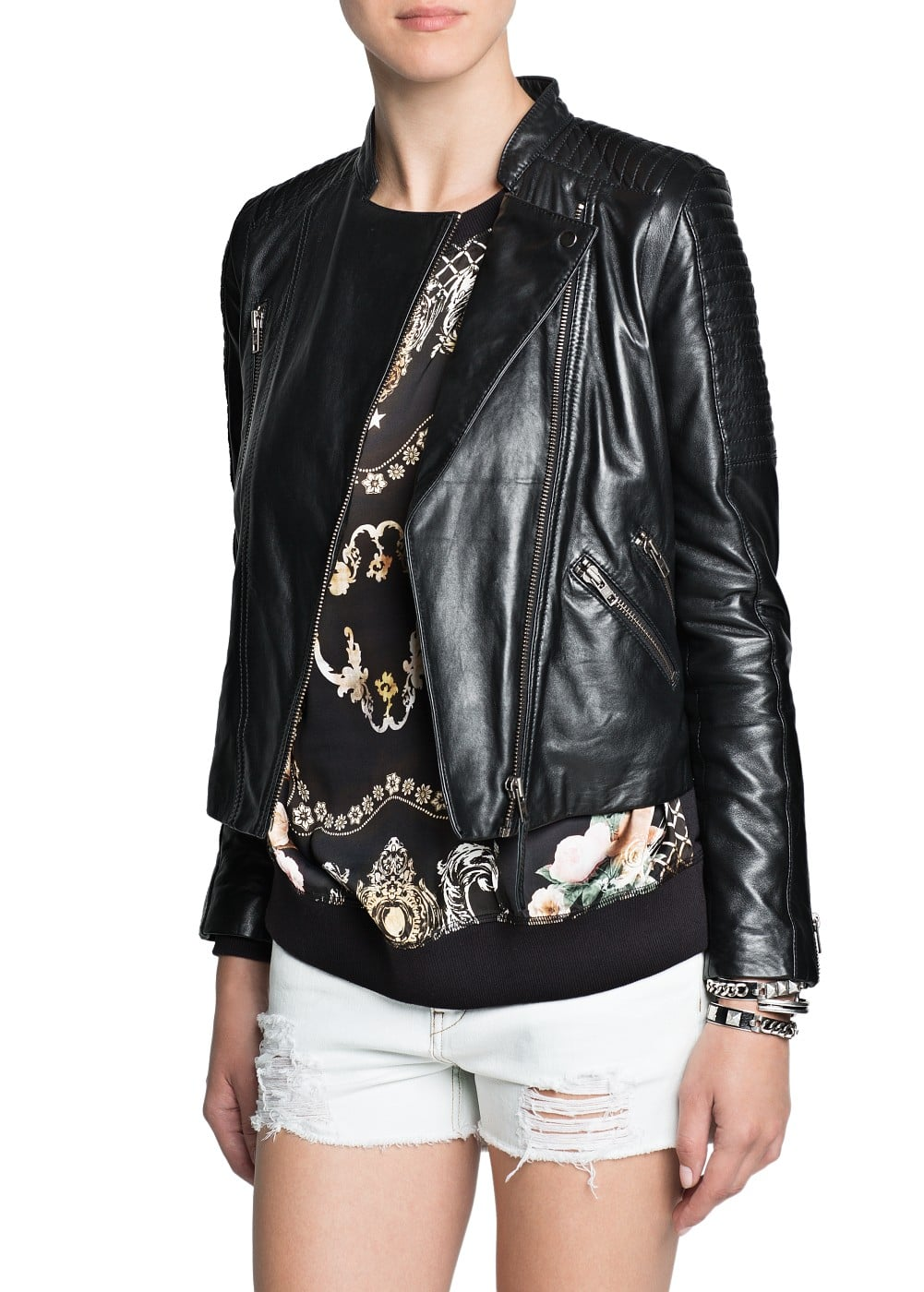 Safety pin leather biker jacket | MANGO