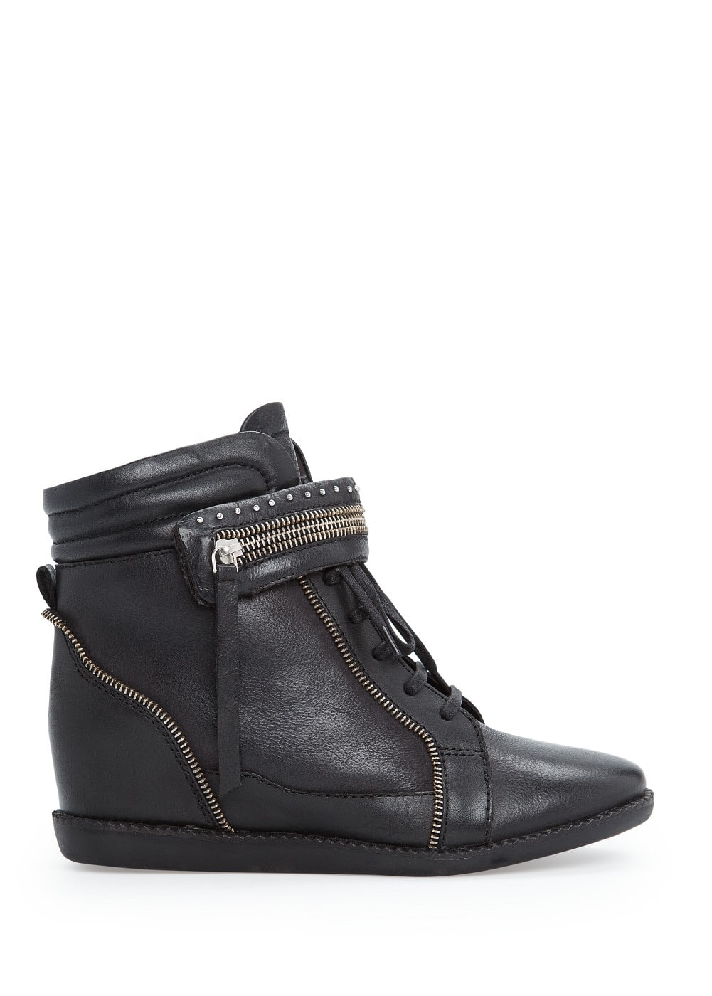 Concealed wedge leather sneakers | MANGO