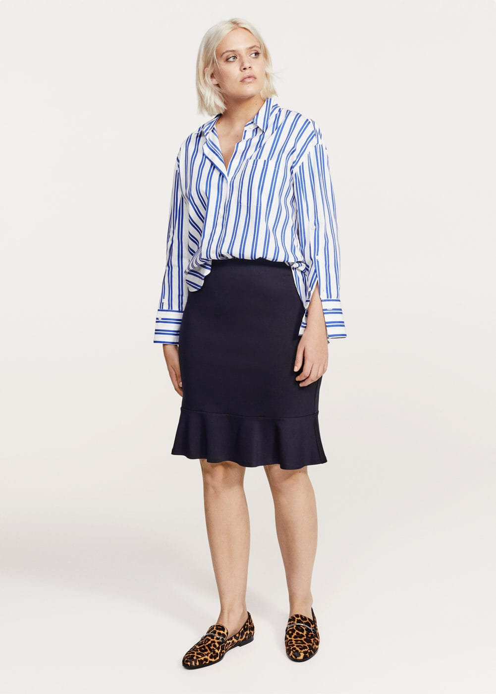 Fluted hem skirt | VIOLETA BY MANGO