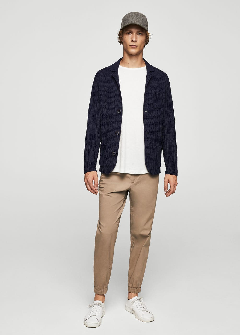 Textured cotton cardigan | MANGO MAN