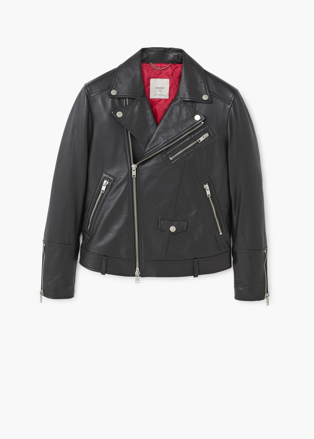 Leather biker oversize jacket | MANGO