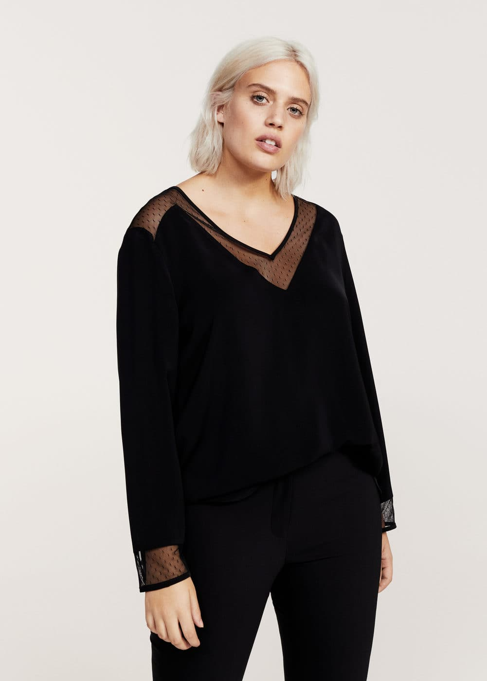 Plumeti panel blouse | VIOLETA BY MANGO