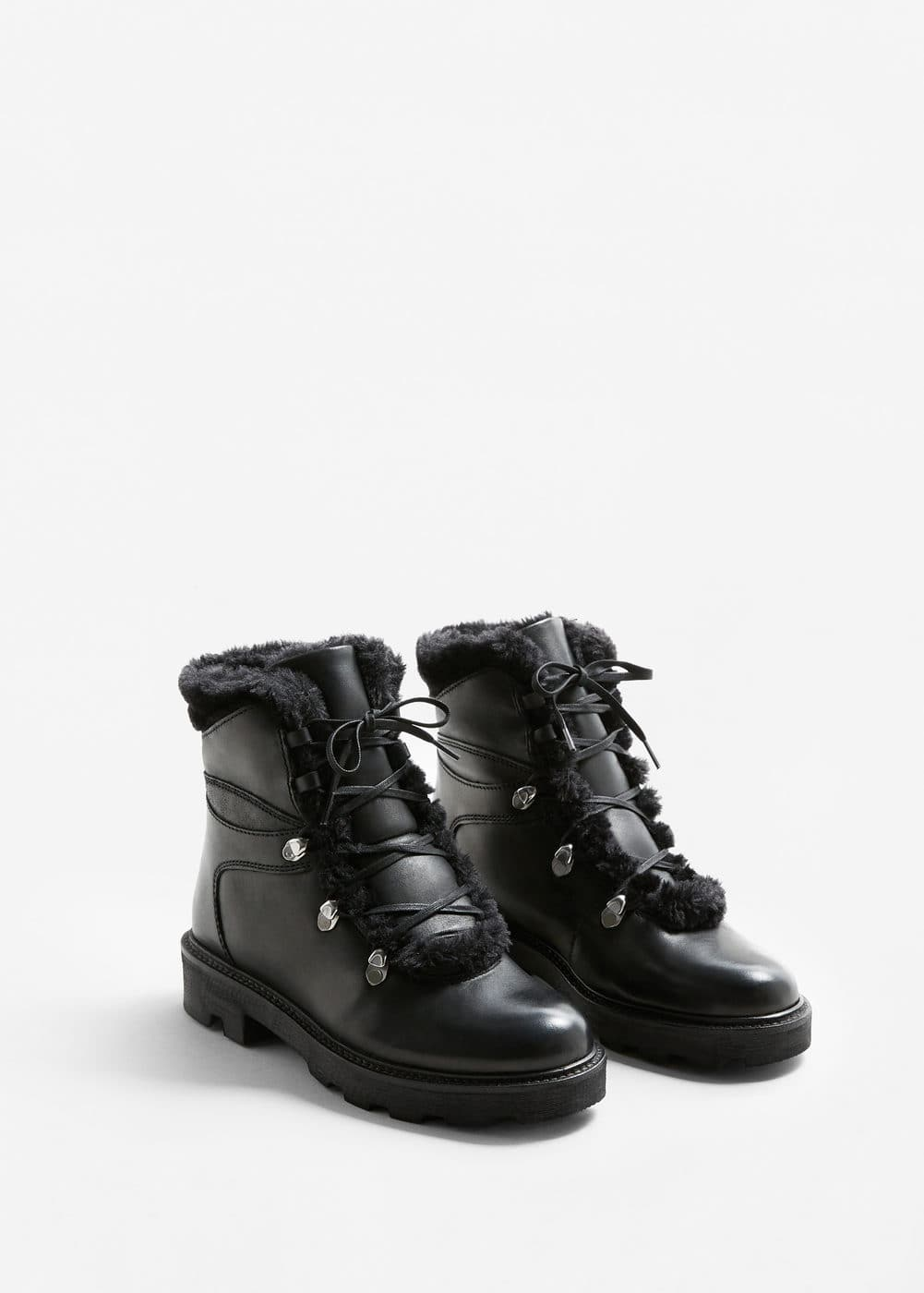 Leather boots with track sole | MANGO