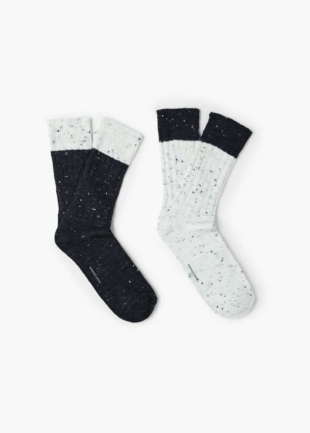 2 pack flecked chunky-knit socks | MANGO MAN