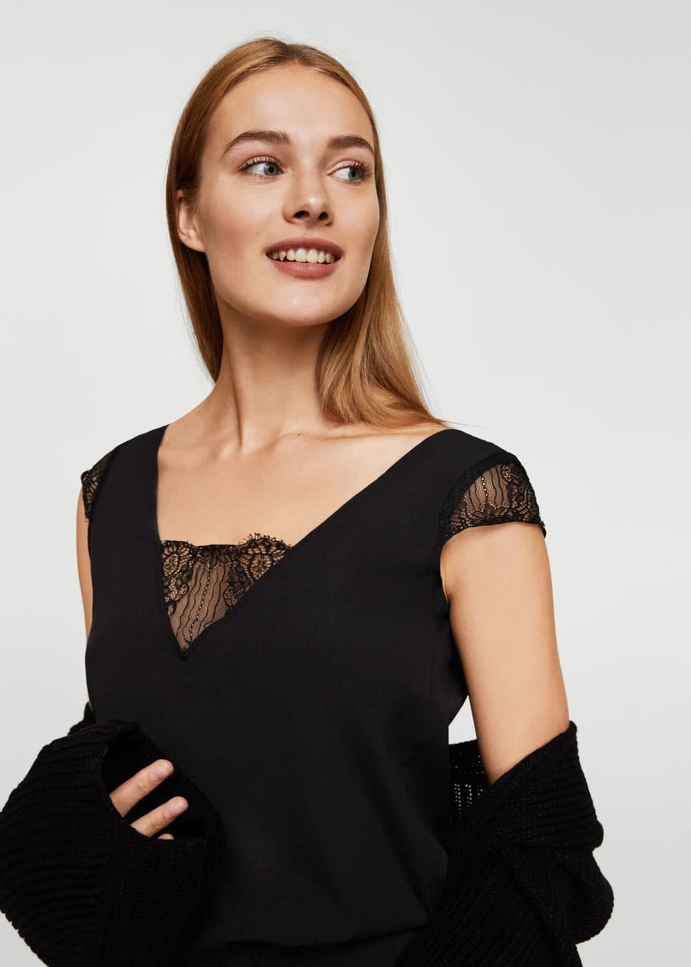 Lace panel jumpsuit | MANGO