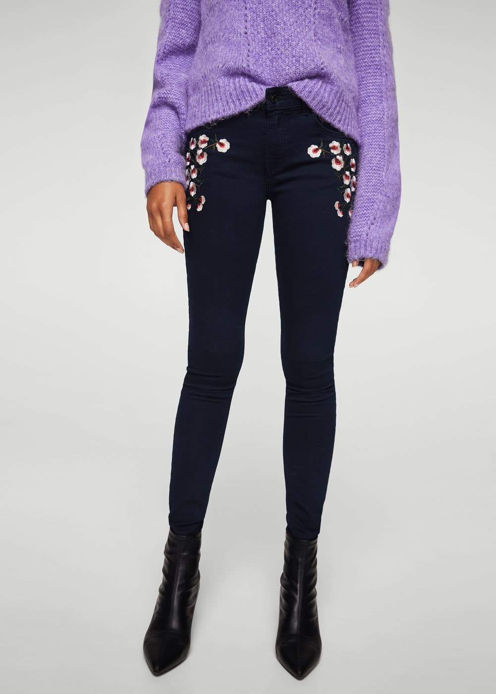 Embroidered skinny push-up jeans | MANGO