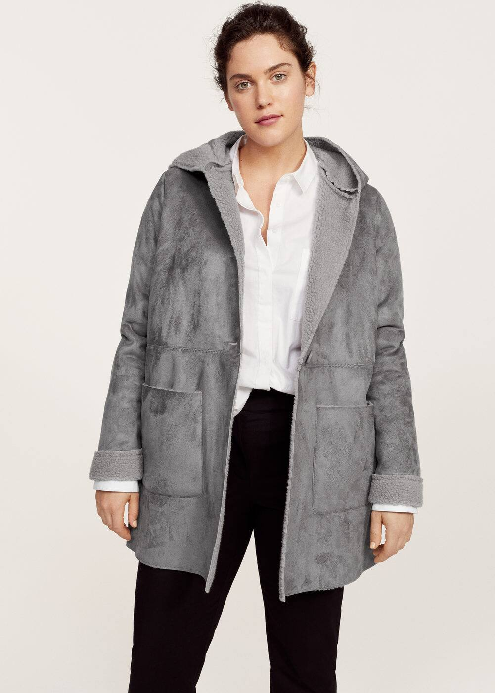 Faux-shearling suedette coat | VIOLETA BY MANGO