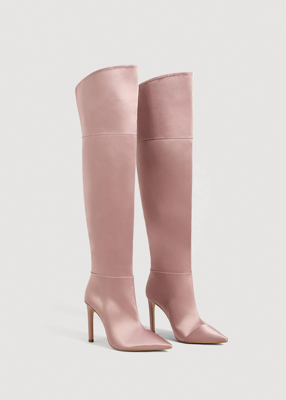 Satined over-the-knee boots | MANGO