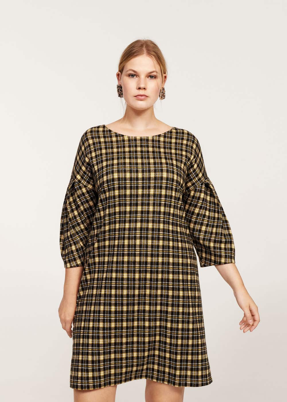 Pleated sleeve checked dress | MANGO