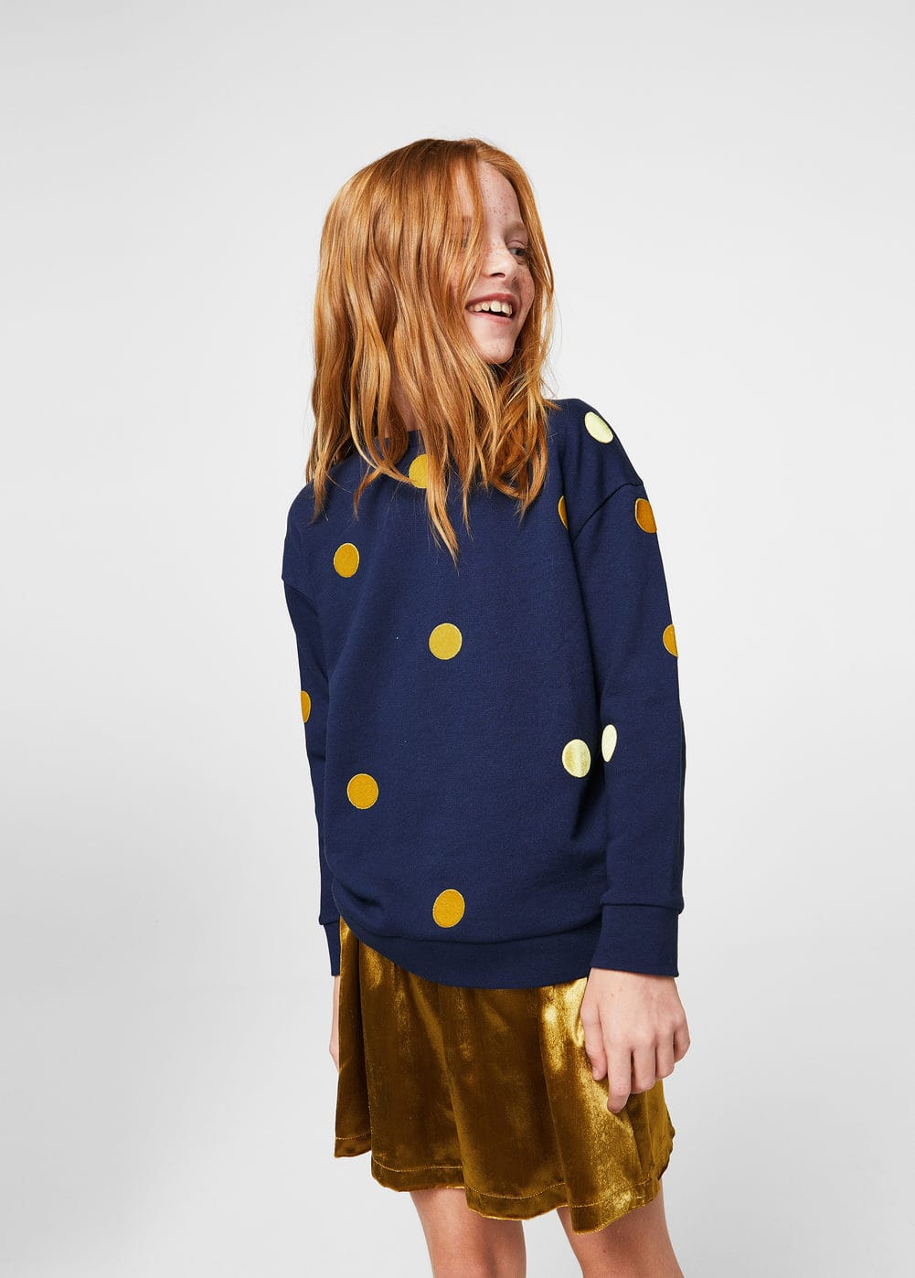 Embossed polka-dot sweatshirt | MANGO