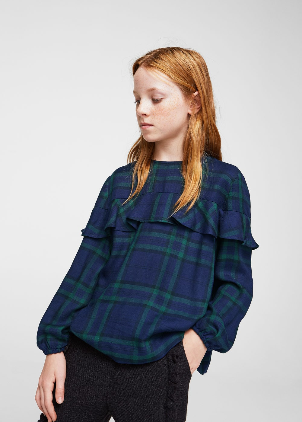 Checked frill blouse | MANGO
