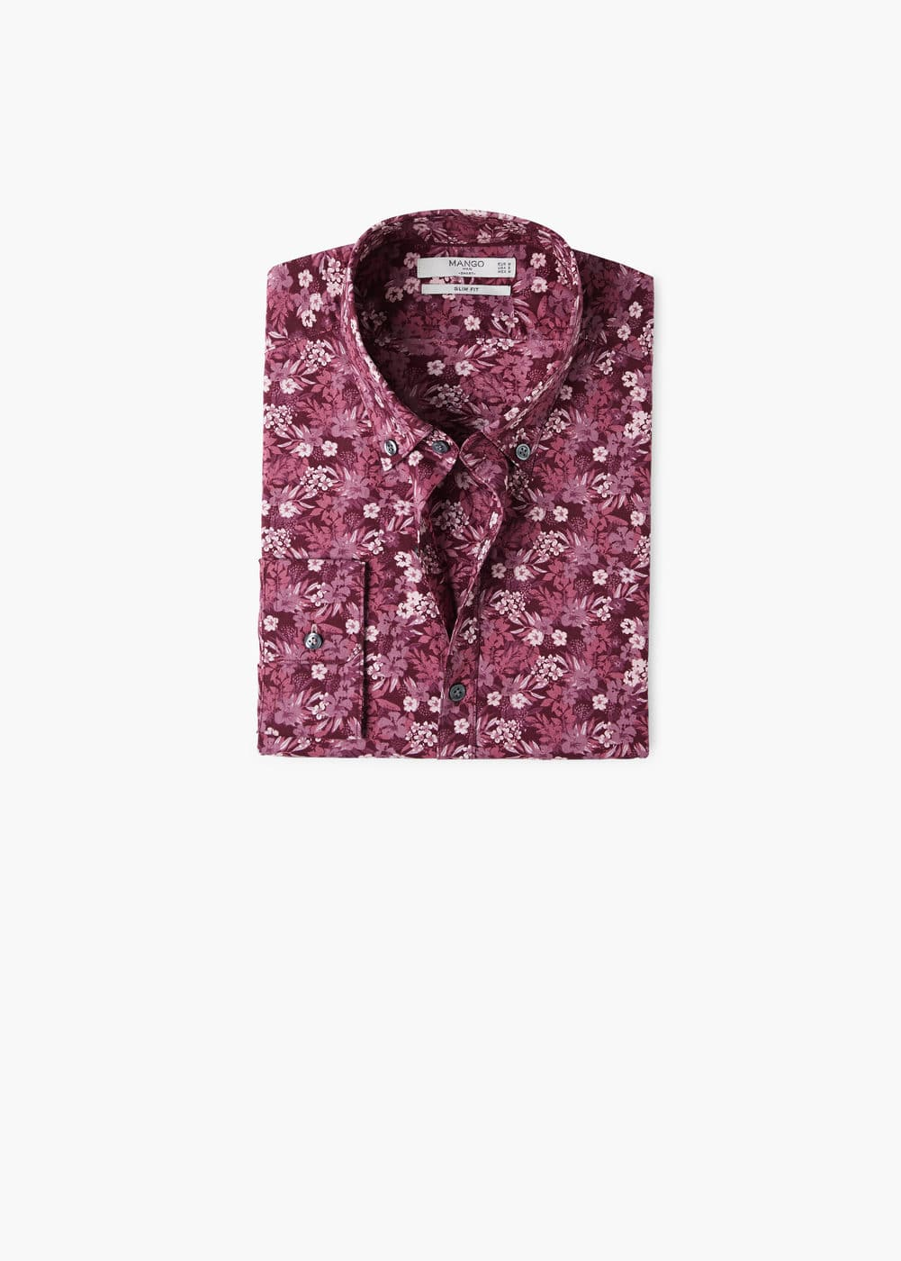 Slim-fit floral print shirt | MANGO