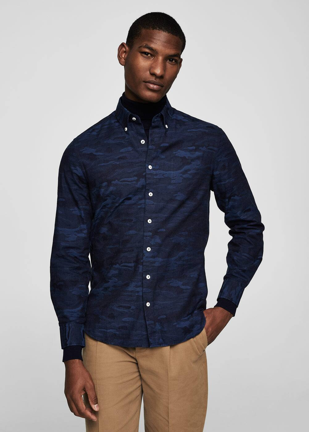 Slim-fit camo-print cotton shirt | MANGO
