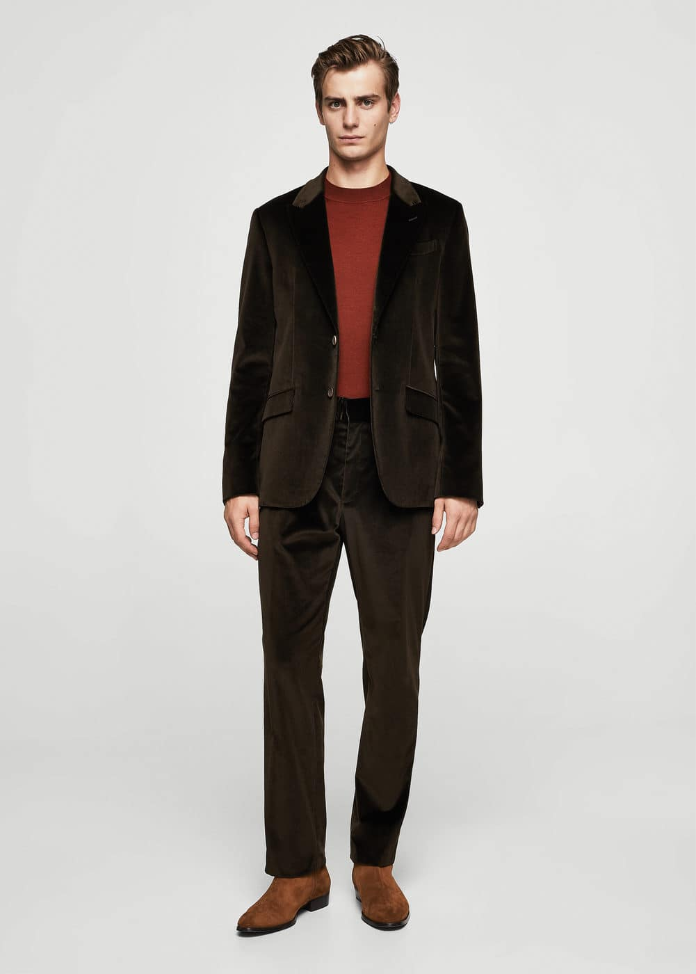 Slim-fit velvet suit blazer | MANGO MAN