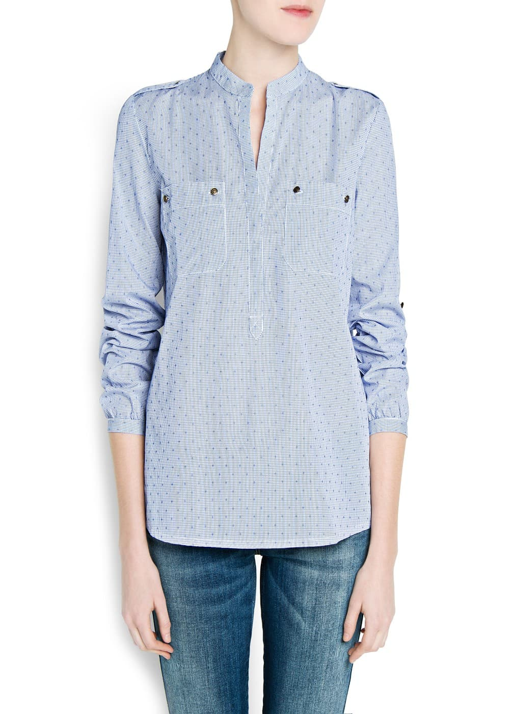 Embroidered micro check blouse | MANGO