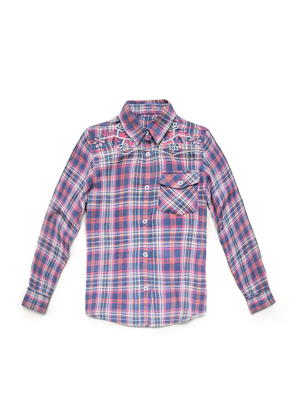 Embroidered check shirt | MANGO