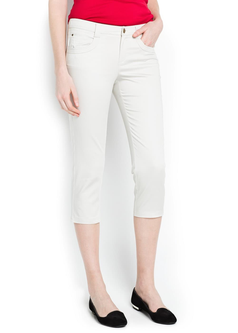 Cotton capri trousers | MANGO