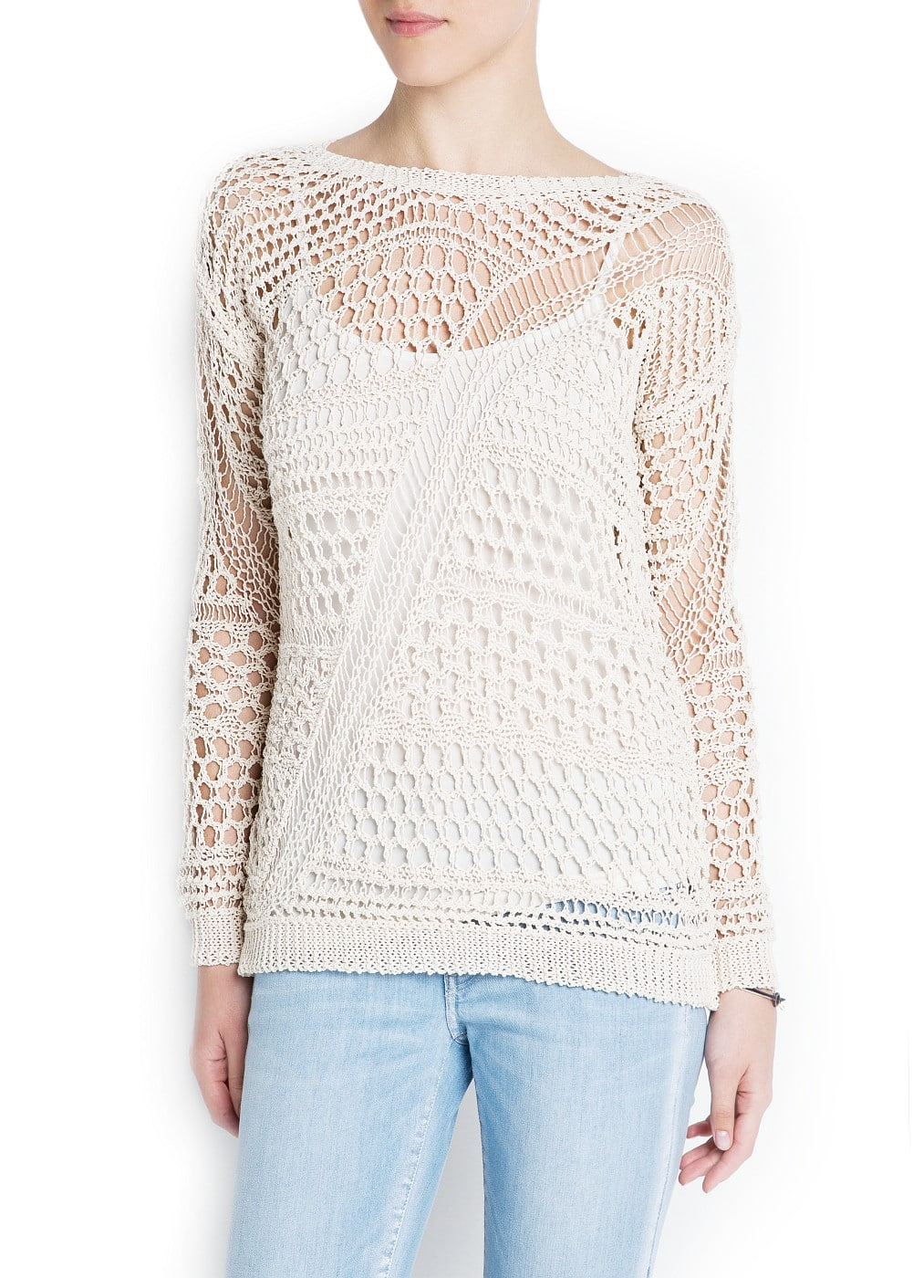 Cotton open-work sweater | MANGO