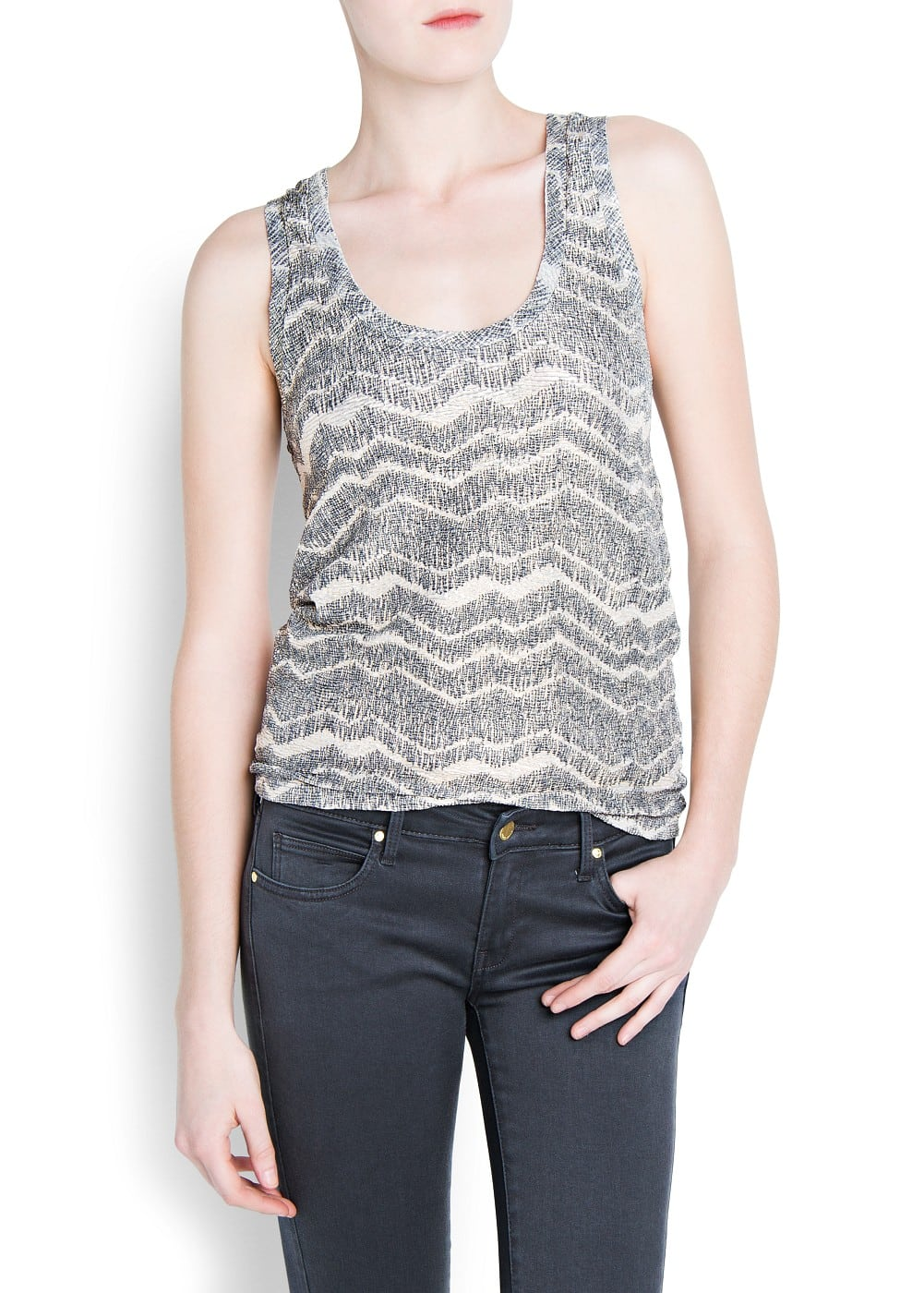 Textured metallic top | MANGO