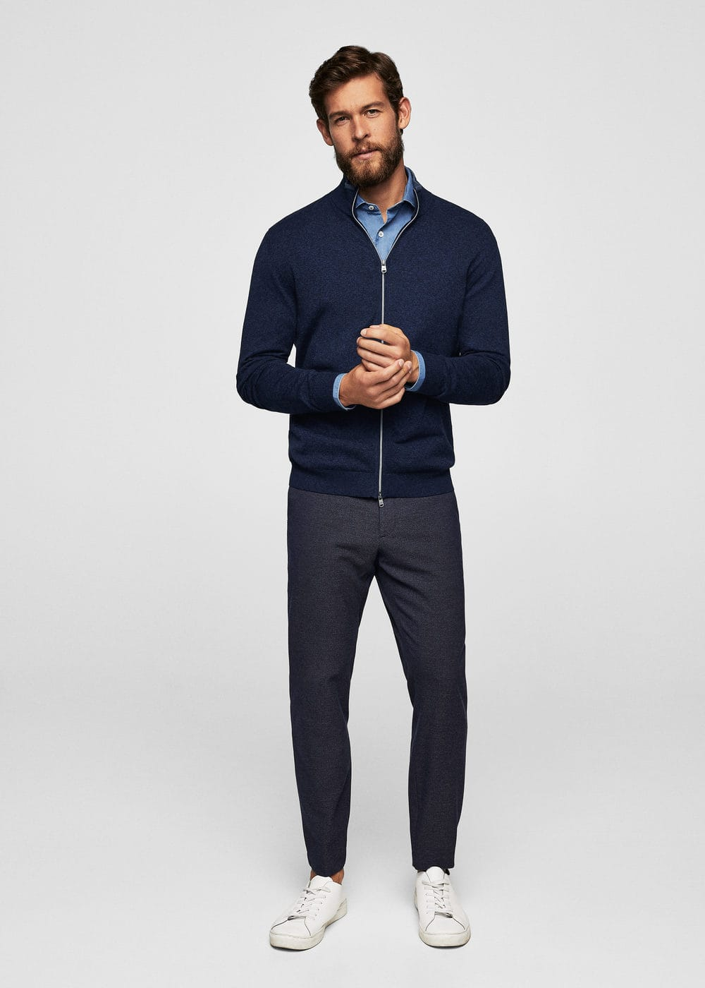 Cotton cashmere-blend cardigan | MANGO MAN